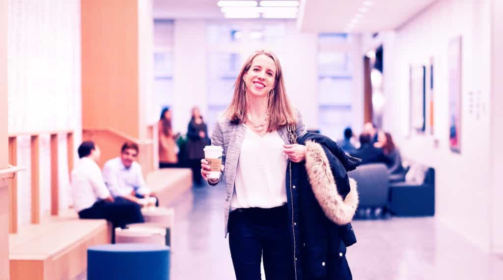 EWMBA at JPMorgan, Megan grabbing a coffee